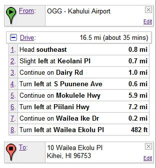 Driving directions from Maui's Kahului Airport.
